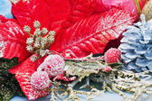 红色圣诞,圣诞花卉装饰 — 图库照片