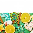 Christmas gingerbread cookies isolated - Stock Photo