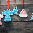 Colorful christmas gingerbread - Stock Photo