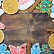 Christmas Gingerbread cookies and spices - Stock Photo