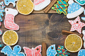 Christmas Gingerbread cookies and spices — Stock Photo