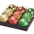 Multicolored Christmas balls in a box — Stock Photo
