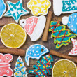 Curly Christmas gingerbread home cooking — Stockfoto