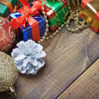 Christmas decorations, balloons and gifts — Stock Photo