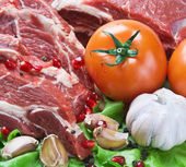 Fresh beef meat with vegetables — Stock Photo