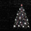 Christmas tree on black background — Stock Photo