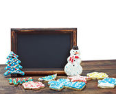 Blackboard with space for text on the background of a Christmas — Stock Photo