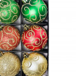 Christmas balls in a box with a place to write a congratulatory — Stock Photo