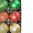 Royalty-Free Stock Photo: Christmas balls in a box with a place to write a congratulatory