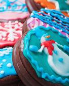 Christmas cakes with chocolate — Stock Photo