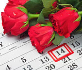 Roses lay on the calendar with the date of February 14 Valentine — Foto de Stock