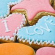 Valentine cookies with the words I love you — Stok fotoğraf