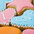 Valentine cookies with words I love you — Stockfoto #17686125