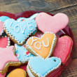 Stock Photo: Valentine cookies with the words I love you