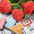 Roses lay on calendar with date of February 14 Valentintext — ストック写真 #17686141
