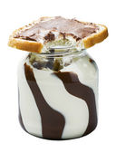 Glass jar with chocolate spread — Stock Photo