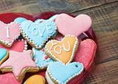Cookies de dia dos namorados com as palavras eu te amo — Foto Stock