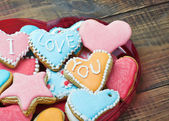 Valentine cookies with the words I love you — Stock Photo