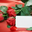 Red roses and white card with a place for a congratulatory text — Stok fotoğraf