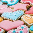 Stock fotografie: Valentine cookies with words I love you