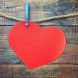 Stock Photo: Red heart made of paper with a place for text