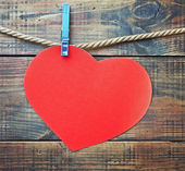 Red heart made of paper with a place for text — Stock Photo