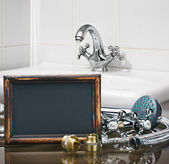 Bathroom fixtures and fittings are of different construction and — Stock Photo