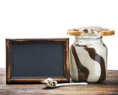 Sándwich y una taza de chocolate para untar — Foto de Stock