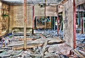 Destroyed and ruined interior — Foto Stock