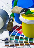 Accessories for home renovation on an architectural drawing — Stock Photo