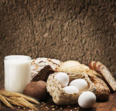 Assortment of freshly baked bread and organic products — Stok fotoğraf