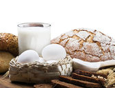 Fresh baked bread and ingredients — Stock Photo