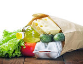 Fresh food in a paper bag — Stock Photo