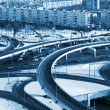 Road junction in the streets of Moscow in winter — Stock Photo