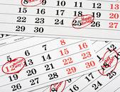 Calendar of important dates — Stock Photo