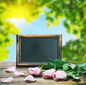 Blackboard and pink roses — Stock Photo