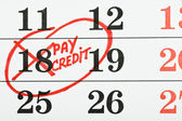 Calendario con la fecha de pago del crédito — Foto de Stock
