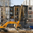 Stock Photo: Demolition of dilapidated and old apartment building in Moscow