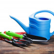 Garden tools lying on wooden table — Stock Photo
