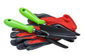 Garden tools and red gloves — Stock Photo