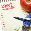 Notebook with diet plan — Stock Photo