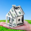 Stock Photo: House made of money in hand