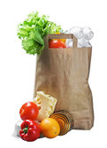 Paper bag with food — Stock fotografie