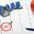 Start date the calendar diet — Stock Photo