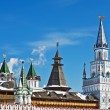 Domes and towers of the Kremlin in Izmailovo in Moscow — Stock Photo