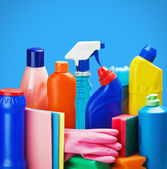 Selection of colorful cleaning equipment — Stock Photo