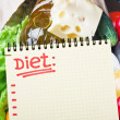 Stock Photo: Notebook with diet plan