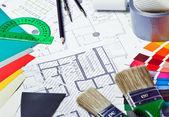 Gereedschappen en toebehoren voor huis renovatie — Stockfoto