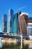 Complex modern skyscrapers Moscow City — Foto Stock