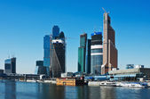 View of the complex modern skyscrapers Moscow City — 图库照片